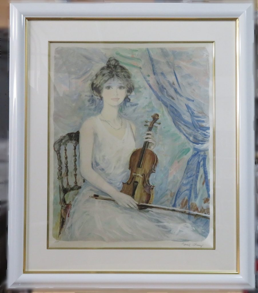 【版画 その他技法】ベルナール シャロワ 『バイオリンを持つ少女』を買取り致しました。