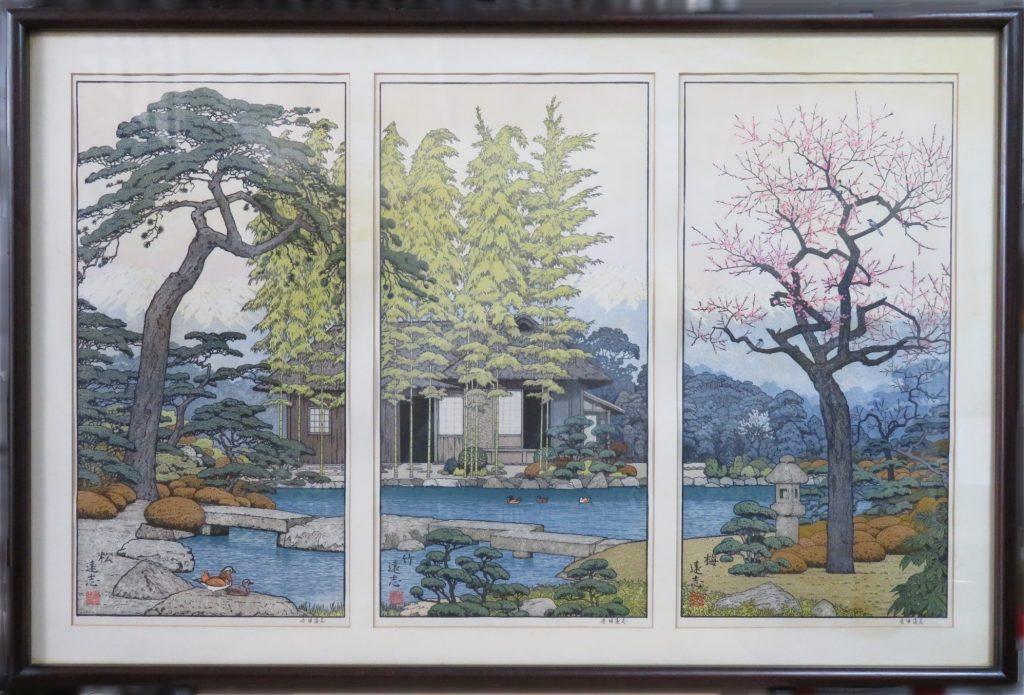 【版画(木版)】吉田遠志「松竹梅風景」を買取り致しました。