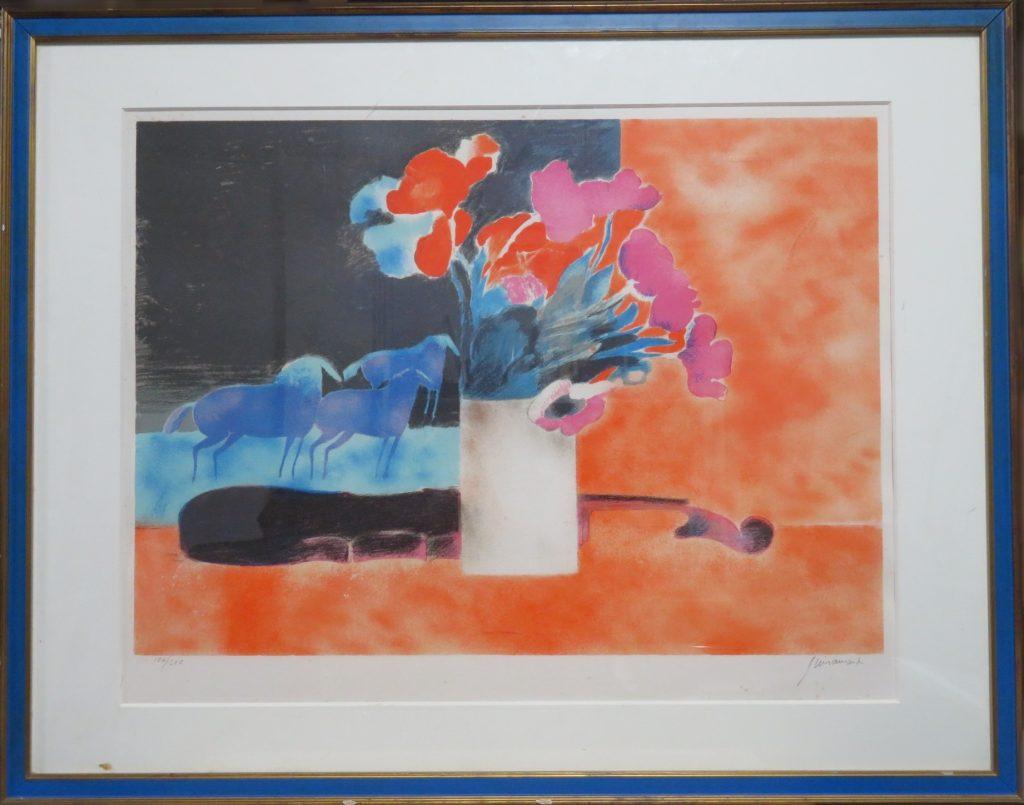 【版画】ポール・ギアマン「バイオリンに花と馬(リトグラフ)」を買取致しました。