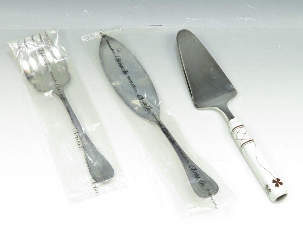 【銀製 洋食器】クリストフル「ケーキサーバー・フォークセット」を買取り致しました。