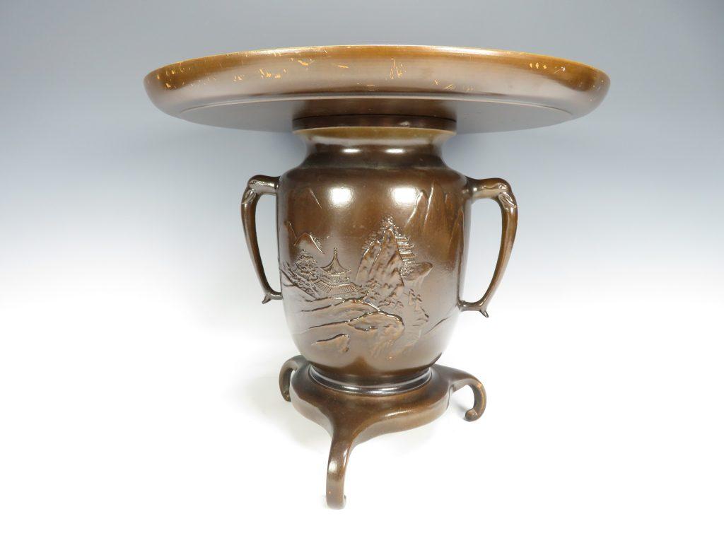 【銅製品】無銘「銅製楼閣図文薄端」を買取り致しました。