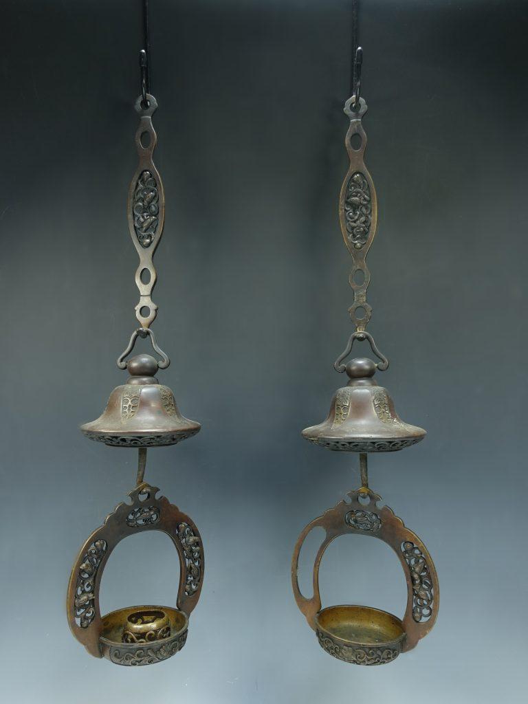 【銅製品】中尾宗貞制造  「唐銅鳥唐草輪灯」を買取り致しました。