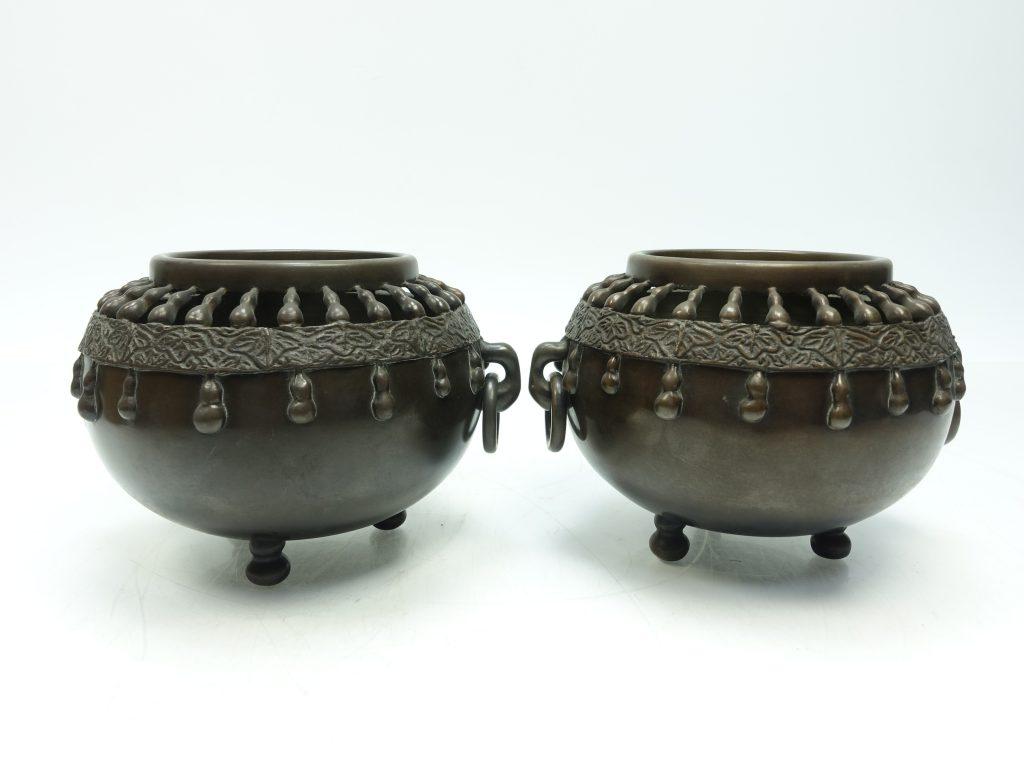【香炉】無銘 「銅製対香炉」を買取り致しました。