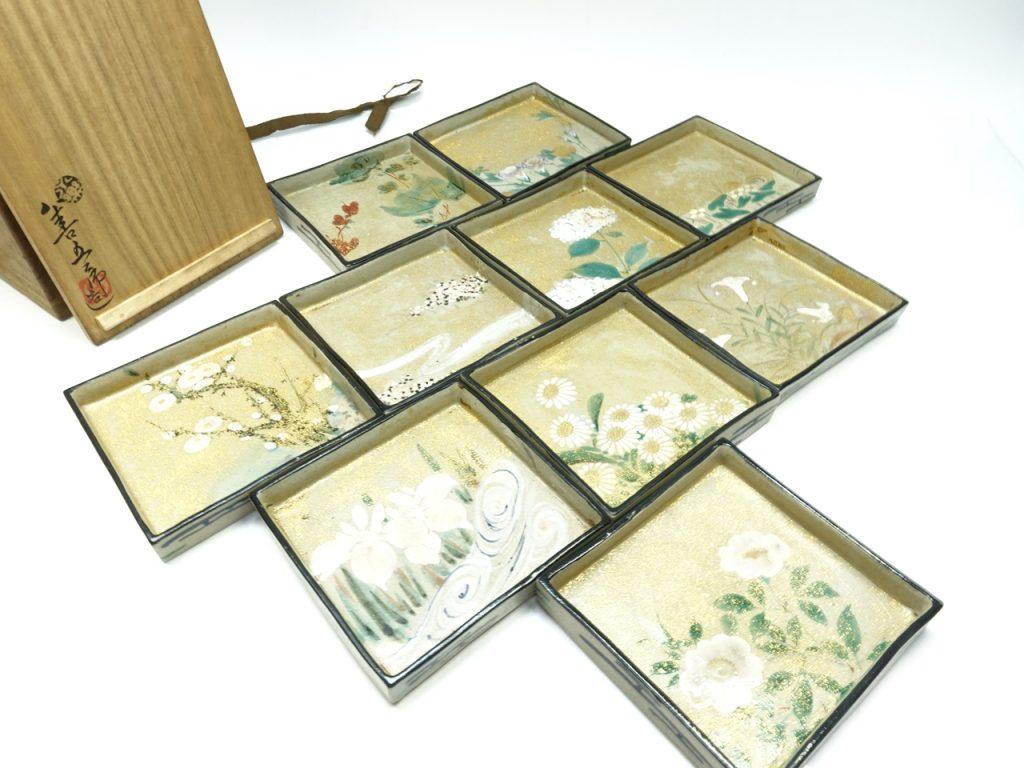 【作家物(陶器)】十四代 永楽善五郎 「仁清写 色絵向付皿」を買取り致しました。